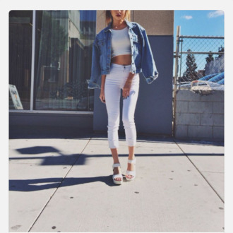 jeans white pants white crop tops jeans jacket shoes jacket