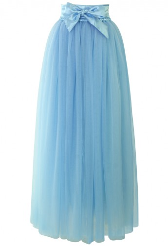 Amore Maxi Tulle Prom Skirt in Sky Blue - Retro, Indie and Unique Fashion