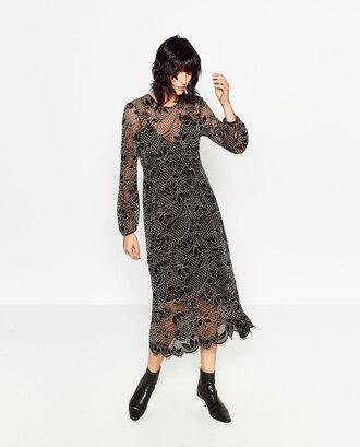 dress zara lace dress lace black lace dress winter dress fall dress long sleeve dress