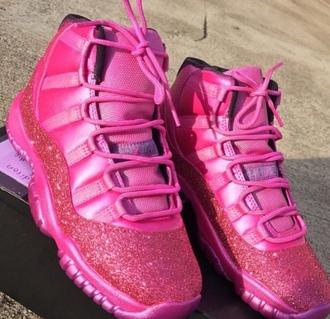 shoes jordans pink custome shoes cute @jordans hot pink jordans glitter jordan's shoes retro retro jordans air jordan 11 glitter shoes high top sneakers pink sneakers