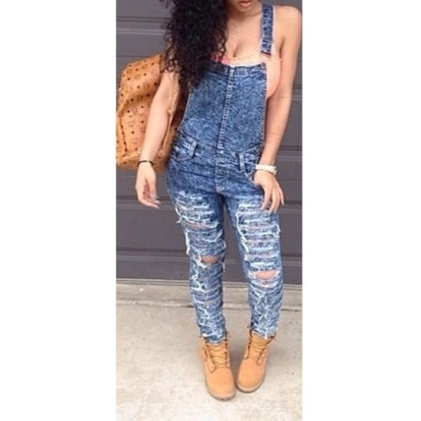 Destroyed Denim Overalls | Forever Mint | Online Store Powered by ...