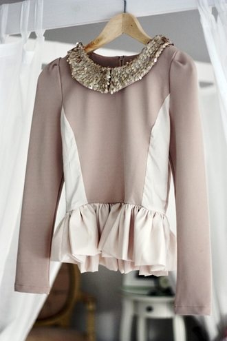 blouse glitter gold pink beige volang cute plume