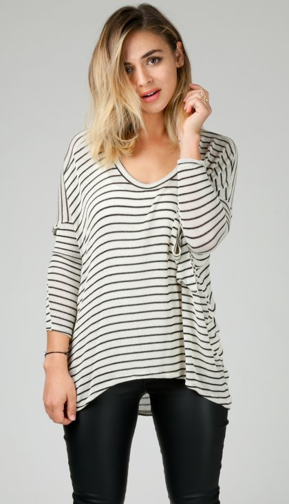 Thin stripe pocket oversize long sleeve top