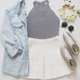 jacket jean jackets blue jean jacket sunglasses skirt skater skirt white cute fashion outfit flower crown halter top silver shoes tennis skirt white skirt chambray shirt top
