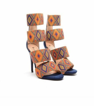 shoes strappy heels designer brand tribal pattern high heels fashion vibe animal print aztec