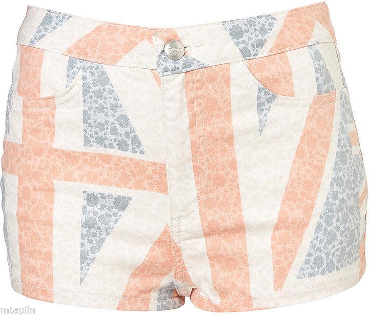 Topshop moto floral union jack flag denim light hotpants uk 8 10 12 14 $68