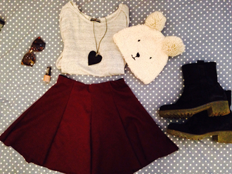 shoes sweater skirt red skirt necklace heart necklace hat bunny hat boots brown boots girly
