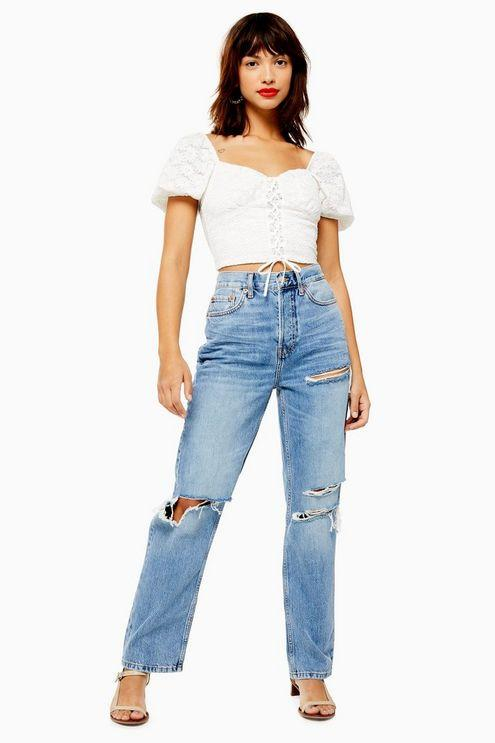 Mid Blue Ripped Dad Jeans - Mid Stone