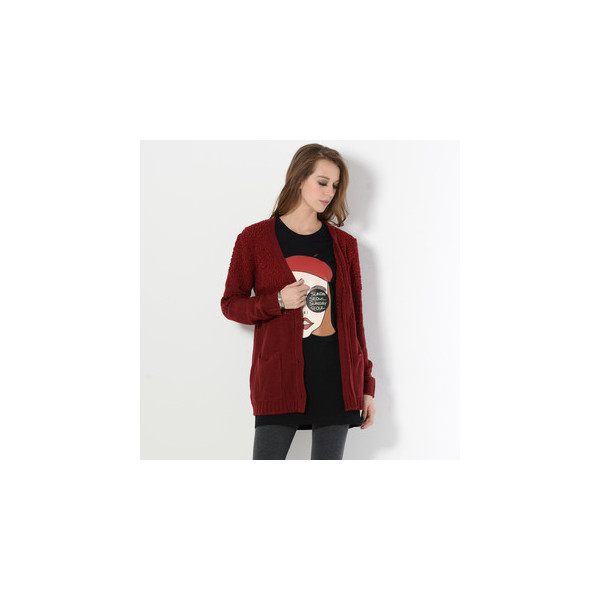 Nubby Knit Panel Cardigan Wine Red - YesStyle Z - Polyvore