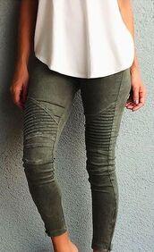 jeans,clothes,olive green,khaki,biker jeans,green jeans,pants,olive green jeans,green moto jeans,army green,skinny jeans,denim,khaki pants,camo pants,green,skinny pants