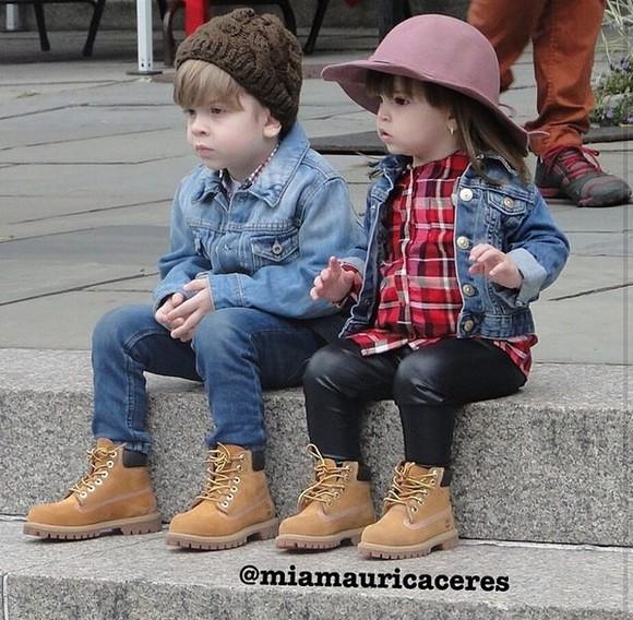 guys girls kids fashion jacket boy/girl timberlands fashion denim jacket Leather pants Plaid shirt