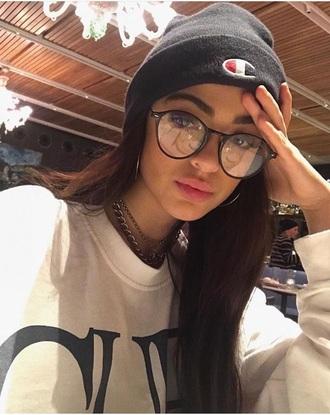hat champion beanie glasses shirt top luna blaise
