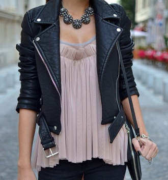 blouse girly jewels silky edgy jacket