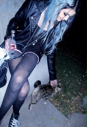 jacket,leather jacket black silver biker rock cool
