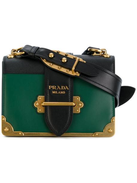 Prada women bag shoulder bag leather green bronze