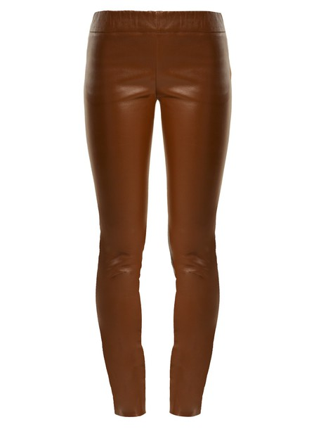 The Row leather brown pants