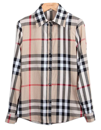 blouse brenda shop shirt plaid checkered beige fall outfits spring outfits winter outfits