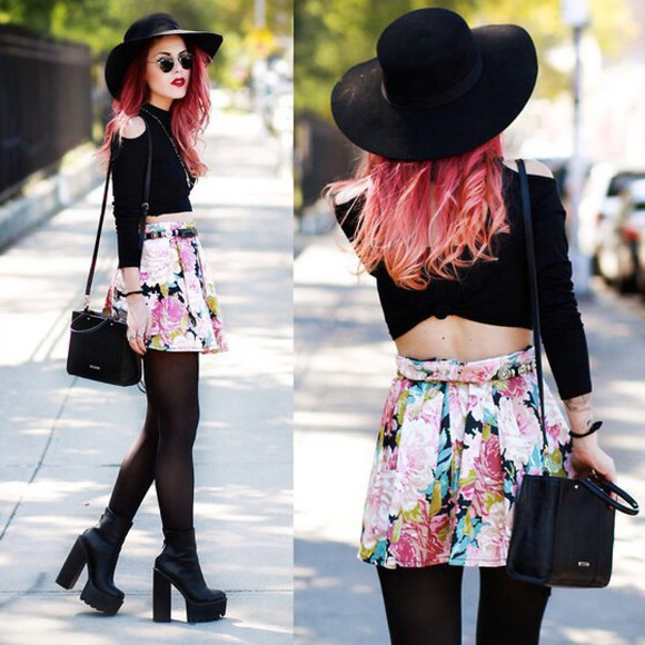 pink bright colorful black skirt floral skirt