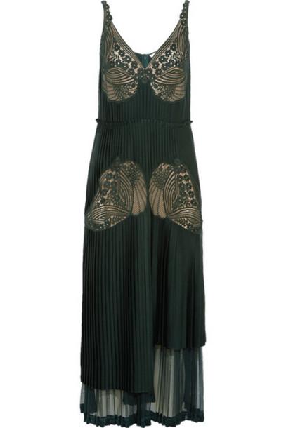 df1266cd0b Stella McCartney Stella McCartney - Dondini Lace-paneled Pleated Satin  Dress - Forest green