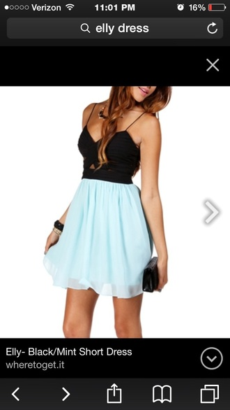 dress elly dress short straps mint dress black dress