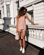top,shorts,pink shorts,tumblr,pink top,halter top,white sneakers,espadrilles,romper,shoes,sunglasses,bag