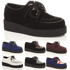 WOMENS LADIES FLAT PLATFORM WEDGE LACE UP GOTH PUNK CREEPERS SHOES BOOTS SIZE | eBay