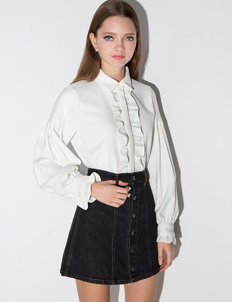 shirt, white ruffled button down shirt, white ruffled ...