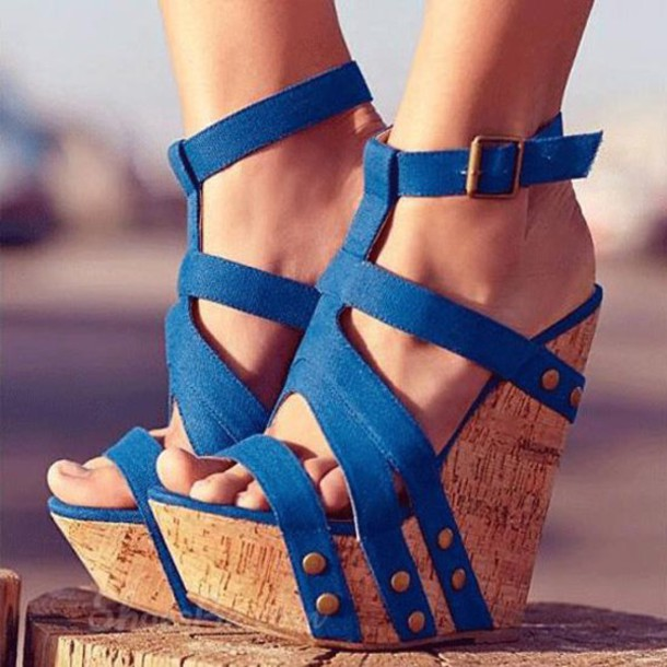 17fae70b5b5b shoes sandals rivets ankle strap wedges shoespie fashion summer wedges blue  blue wedges blue shoes heels