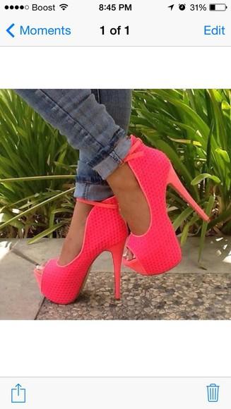shoes high heels peep toes pink platform high heels pumps