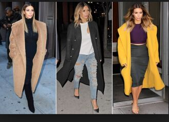coat kim kardashian long coat trench coat winter coat camel coat black coat yellow kim kardashian style kardashian kollection style chic jeans
