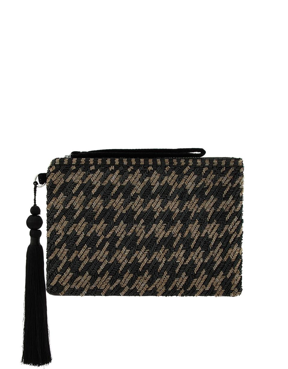 Hetty Houndstooth Bead-Embellished Clutch