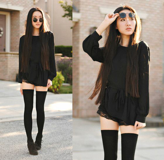 socks black romper black knee socks black shoes blogger sunglasses