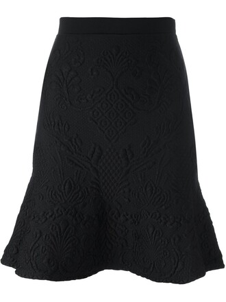 skirt floral skirt women spandex floral black wool