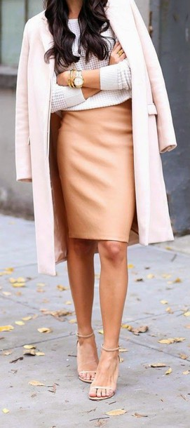 skirt nude leather skirt pink coat
