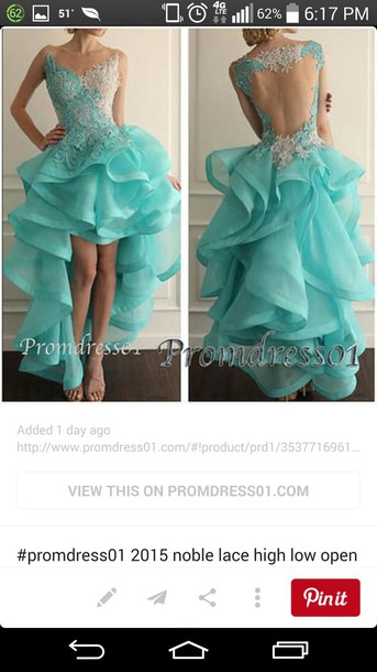 dress prom dress prom gown couture blue dress high low dress ruffle