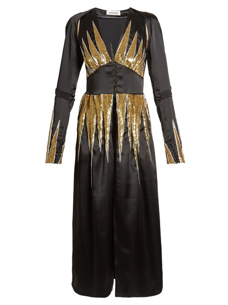 dress satin dress embellished satin gold black