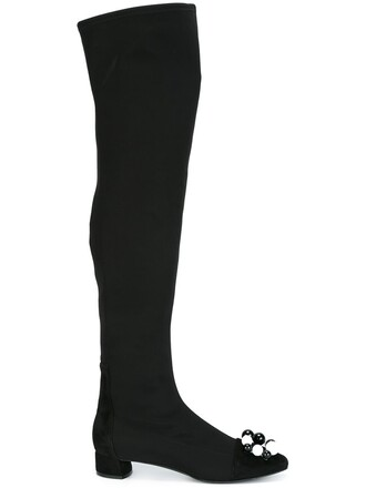 high knee high embellished boots knee high boots black shoes