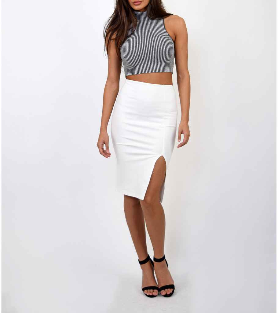 white slit midi pencil skirt emprada