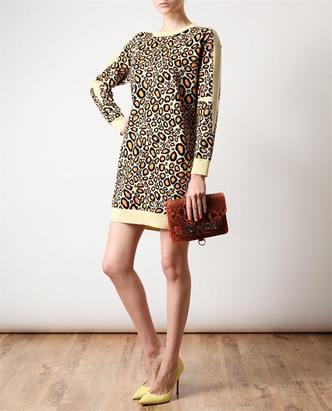 Kenzo Leopard Patterned Cotton Knit Dress Browns