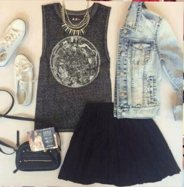 jacket denim jacket skirt