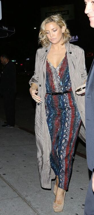 jumpsuit kate hudson sandals coat trench coat