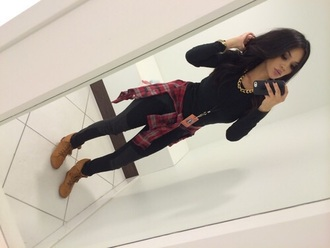 shoes fashion outfit style clothes plaid skinny pants top jacket