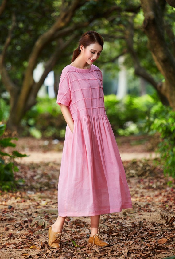 Final Sale 【OnlyM, L, available】Pink Maxi Dress, Maxi Linen Dress, Plaid Dress, Oversized Linen Dress, plus size | Linenna
