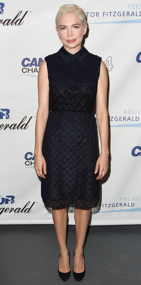 michelle williams dress dark blue