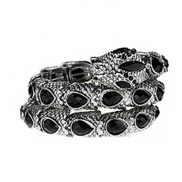 Jewel Embellished Snake Coil Bracelet at Style Moi