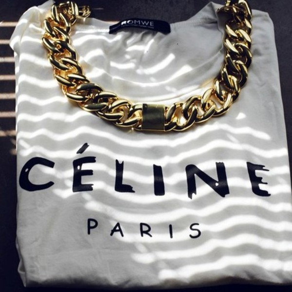 t-shirt fashion casual chic shirt celine jewels necklace gold white graphic t-shirt sweater celine black and white clothes jewelry white celine paris shirt top paris t-shirt blouse celine paris tee