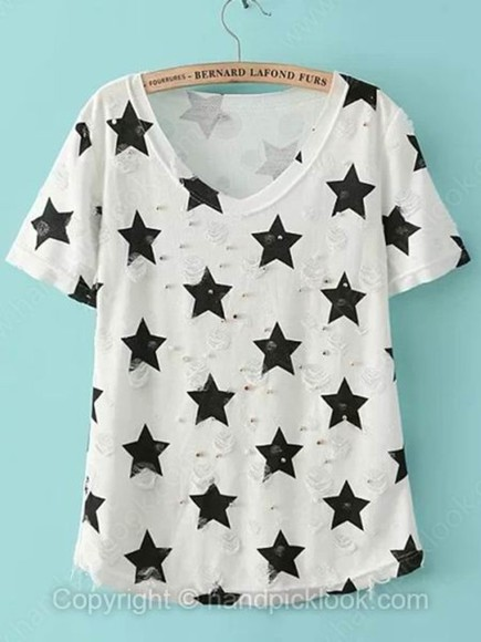 stars star print handpicklook.com t-shirt print t-shirt black and white beaded t-shirt beaded top