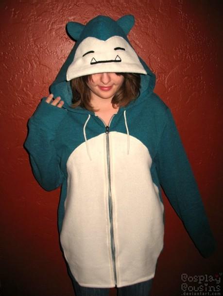 jacket pokemon snorlax zip up jacket hoodie onesie blue and white