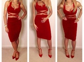dress,red,red dress,sexy party dresses,birthday dress,strappy dress,beyonce,short dress,suede,bodycon dress,shoes,two-piece,mini dress,mini,cut-out dress,party dress,party,formal,hoco,homecoming,prom,prom dress,mini skirt