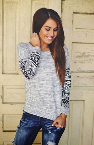 aztec print grey sleeves shirt